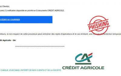Crédit Agricole: Phishing du 14 juillet